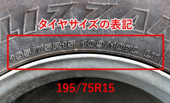 タイヤサイズの表記場所